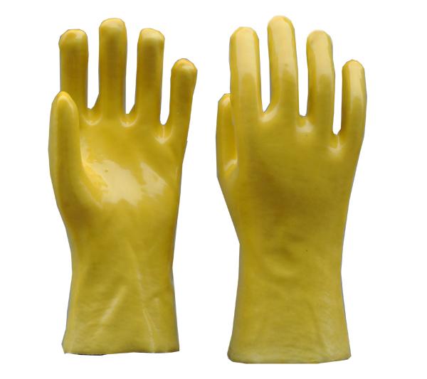 黄色PVC光面手套