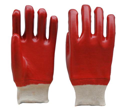 红色pvc光面手套